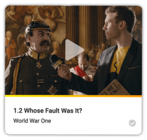 World War One video titled whose fault was it with cast and presenter
