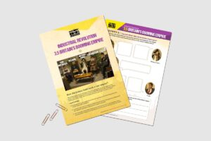 Industrial Revolution Britain's Booming Empire teaching resource activity pack by History Bombs.