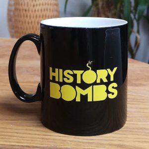 History Bomb's mug in black with History Bomb's logo.