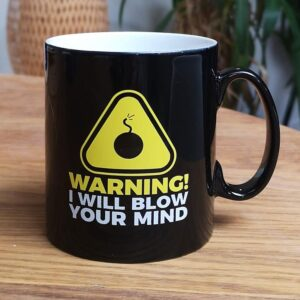 History Bomb's mug with black bomb icon and caption saying warning I will blow your mind.